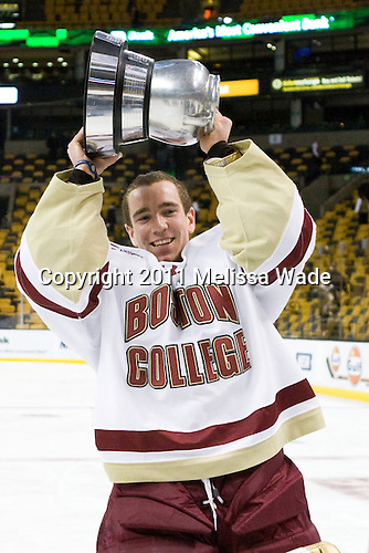 Chris Venti (BC - 30) - The Boston College Eagles defeated the Northeastern University Huskies 7-6 (OT) in the 2011 Beanpot Final on Monday, February 14, 2011, at TD Garden in Boston, Massachusetts.