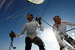 49 er pair Manu Dyen and Stephane Christidis training during a sunny and windy day in Marseille, France.