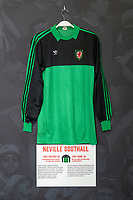 Nevil Southalls' 1982 Wales home shirt is displayed at The Art of the Wales Shirt Exhibition at St Fagans National Museum of History in Cardiff, Wales, UK. Monday 11 November 2019