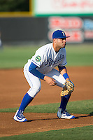Burlington Royals third baseman Emmanuel Rivera (24) on defense against the Princeton Rays at Burlington Athletic Stadium on June 24, 2016 in Burlington, North Carolina.  The Rays defeated the Royals 16-2.  (Brian Westerholt/Four Seam Images)
