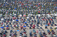 Sept. 28, 2008; Kansas City, KS, USA; Race fans cars fill a parking lot during the Camping World RV 400 at Kansas Speedway. Mandatory Credit: Mark J. Rebilas-