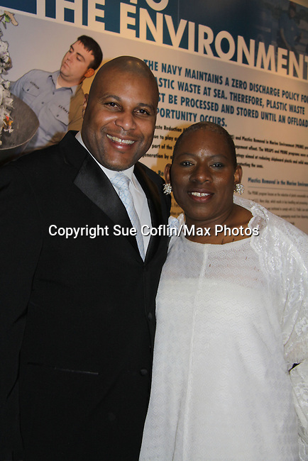 """Author Layon Gray of Black Angels poses with Nana - At the gala Nana Malaya (mom to Lamman Rucker- ATWT & AMC) performed a dance to """"If I Could Fly"""". Nana is artistic director, choreographer, storyteller, motivaitonal speaker, poet, minister, dancer, actress, fitness consultant. - The United States Memorial Celebrates Black History Month with a benefit performance of the Layon Gray's Black Angels Over Tuskegee attend the gala on February 22, 2011 in Washington, DC before performing on Friday, February 25. (Photo by Sue Coflin/Max Photos)"""