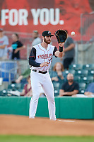 Arkansas Travelers first baseman Kyle Petty (27) waits to receive a throw during a game against the Midland RockHounds on May 25, 2017 at Dickey-Stephens Park in Little Rock, Arkansas.  Midland defeated Arkansas 8-1.  (Mike Janes/Four Seam Images)