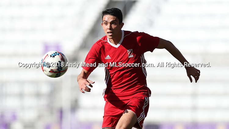 Orlando, Florida - Monday January 15, 2018: Justin Fiddes. Match Day 2 of the 2018 adidas MLS Player Combine was held Orlando City Stadium.