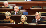 Nevada Assemblyman Tick Segerbom, D-Las Vegas, sits at his desk on the Assembly floor with his mother, former Assemblywoman Gene Segerblom, center, and his sister Robin Liggett at the Legislature in Carson City, Nev. on Friday, March 11, 2011..Photo by Cathleen Allison