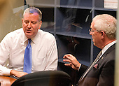 Mayor Bill de Blasio of New York City, left, and NYPD Deputy Commissioner of Intelligence & Counter-terrorism John Miller, right, have a private meeting following a press briefing concerning their meetings at the White House with senior officials on the terrorism threat and dealing with the Ebola crisis in Washington, D.C. on Tuesday, October 14, 2014. <br /> Credit: Ron Sachs / CNP<br /> (RESTRICTION: NO New York or New Jersey Newspapers or newspapers within a 75 mile radius of New York City)