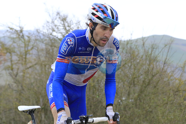 Thibaut Pinot (FRA) FDJ on gravel sector 8 Monte Santa Maria during the 2017 Strade Bianche running 175km from Siena to Siena, Tuscany, Italy 4th March 2017.<br /> Picture: Eoin Clarke | Newsfile<br /> <br /> <br /> All photos usage must carry mandatory copyright credit (&copy; Newsfile | Eoin Clarke)
