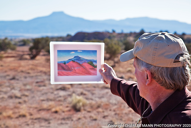 Docent Clark De Schweinitz conducts tours at Ghost Ranch near Abiquiu, New Mexico, pointing out features of the landscape that appear in Georgia O'Keefe's famous paintings.