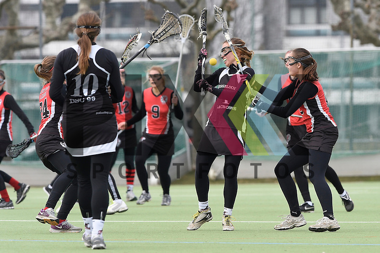 Frankfurt am Main, Germany, March 14: During the Damen 1. Bundesliga West Lacrosse match between SC 1880 Frankfurt and Duesseldorfer Hirschkuehe on March 14, 2015 at the SC 1880 Frankfurt in Frankfurt am Main, Germany. Final score 20-13 (13-8). Laura Klare #1 of Duesseldorfer Hirschkuehe<br /> <br /> Foto &copy; P-I-X.org *** Foto ist honorarpflichtig! *** Auf Anfrage in hoeherer Qualitaet/Aufloesung. Belegexemplar erbeten. Veroeffentlichung ausschliesslich fuer journalistisch-publizistische Zwecke. For editorial use only.