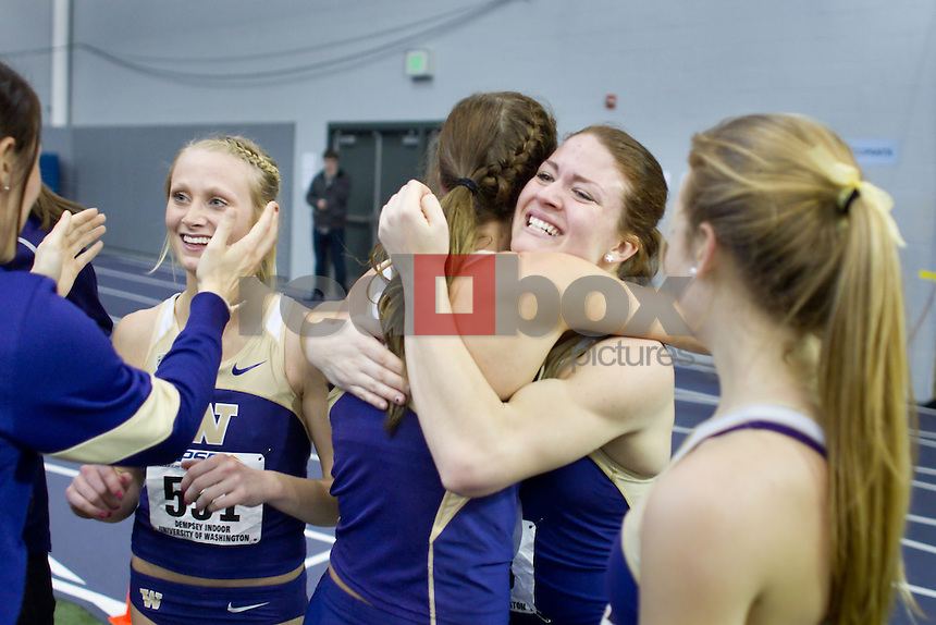 Washington hosts the Mountain Pacific Sports Federation (MPSF) Championships at the Dempsey Indoor Friday February 24, 2012 on the University of Washington campus in Seattle, Wash.  (Photo by Red Box Pictures) Chelsea Orr, Jordan Carlson,  Baylee Mires, Katie Flood.