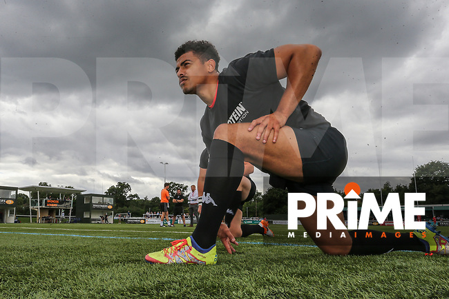 Kieran Dixon  of London Broncos warms up ahead of during the Kingstone Press Championship match between London Broncos and Featherstone Rovers at Castle Bar , West Ealing , England  on 25 June 2017. Photo by David Horn.