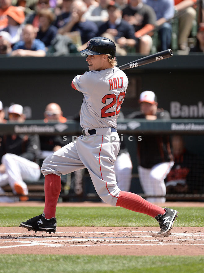 Boston Red Sox Brock Holt (26) during a game against the Baltimore Orioles on April 26, 2015 at Oriole Park in Baltimore, MD. The Orioles beat the Red Sox 18-7.