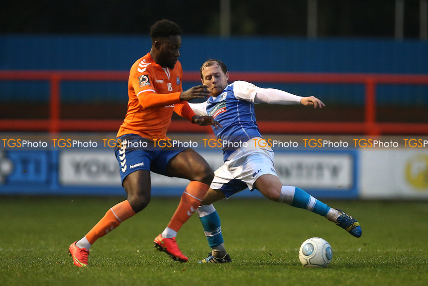 Jack Barthram of Barrow and Marcel Barrington of Braintree during Braintree Town vs Barrow, Vanarama National League Football at the IronmongeryDirect Stadium on 1st December 2018
