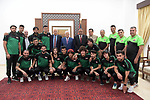 Palestinian President Mahmoud Abbas meets with the Iraqi team for football in the West Bank city of Ramallah on August 4, 2018. Photo by Thaer Ganaim