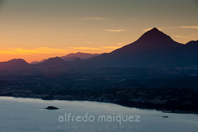 Sunset over Puig campana mountain, Alicante province, Spain