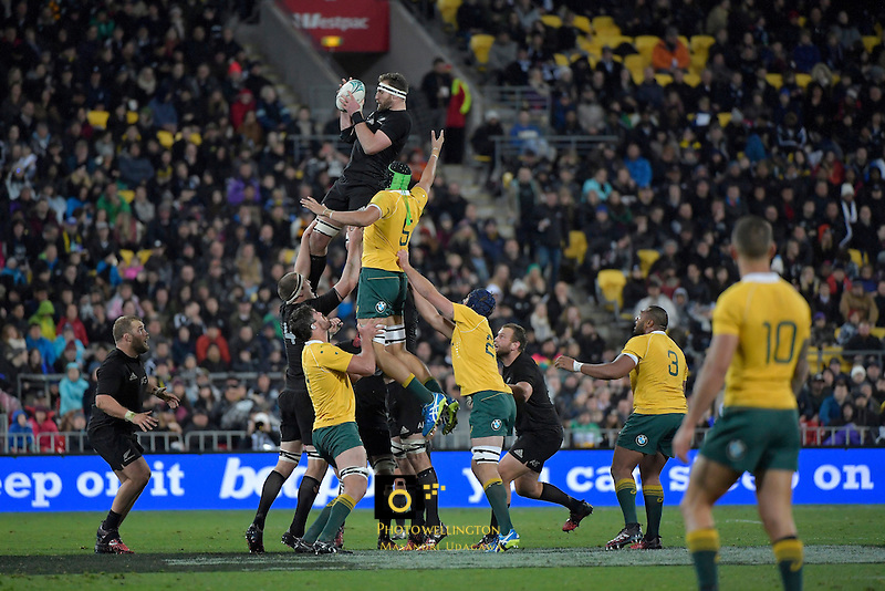 All Blacks' Kieran Read in action during theAll Blacks v Wallabies. The Rugby Championship &amp; Bledisloe Cup at Westpac Stadium, Wellington, New Zealand on Saturday 27 August 2016.<br /> Photo by Masanori Udagawa. <br /> www.photowellington.photoshelter.com.
