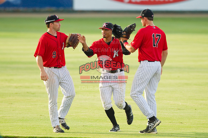 Kale Kiser (9), Jacob May (20) and Jason Coats (17) celebrate their win over the Greensboro Grasshoppers in South Atlantic League action at CMC-Northeast Stadium on July 13, 2013 in Kannapolis, North Carolina.  The Intimidators defeated the Grasshoppers 7-5.   (Brian Westerholt/Four Seam Images)