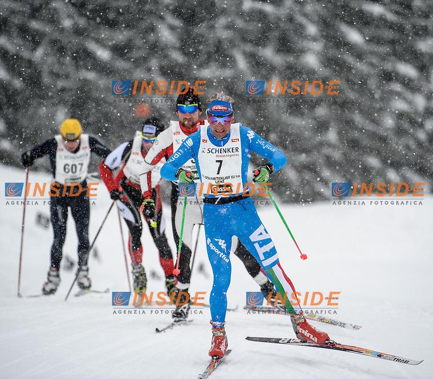 Simone Paredi (ITA), Aliaksei Ivanou (BUL).20.01.2013, Loipe Obertilliach, AUSTRIA.Dolomitenlauf - Sci Nordico di Fondo .Foto EXPA/ Michael Gruber / Insidefoto.ITALY ONLY
