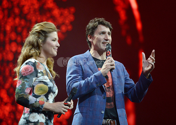 Canadian Prime Minister Justin Trudeau and his wife Sophie Gregoire speak during the first Global Citizen Festival Concert in Hamburg, Germany, 06 July 2017. The G20 Summit of the heads of government and state takes place on 7 and 8 July 2017 in Hamburg. Photo: Daniel Reinhardt/dpa /MediaPunch ***FOR USA ONLY***