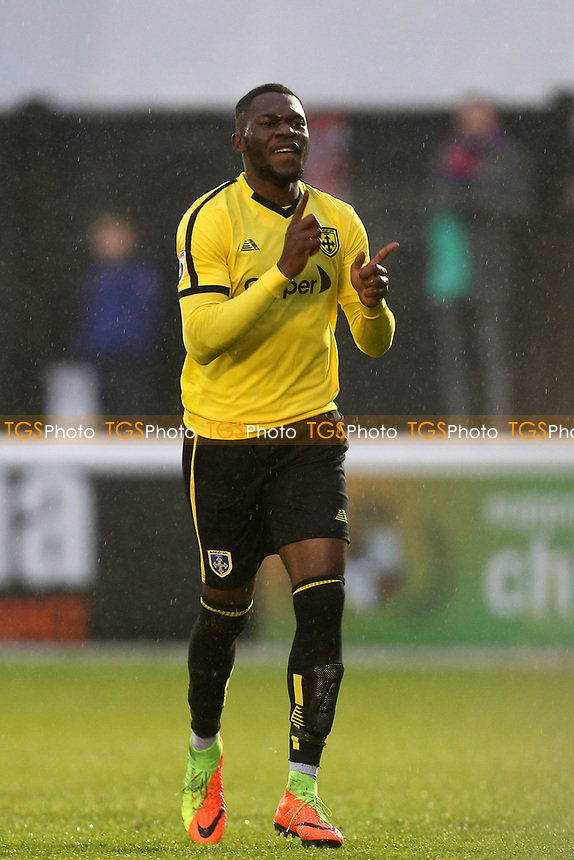 Mike Fondop of Guiseley is congratulated after scoring the second goal during Dagenham & Redbridge vs Guiseley, Vanarama National League Football at the Chigwell Construction Stadium on 18th November 2017