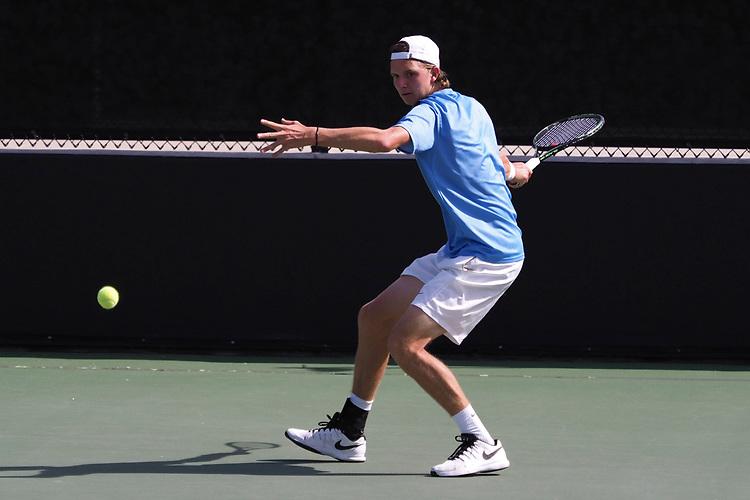 April 28, 2017; Claremont, CA, USA; San Diego Toreros player Guus Koevermans during the WCC Tennis Championships at Biszantz Family Tennis Center.