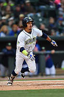 Designated hitter Jay Jabs (7) of the Columbia Fireflies runs toward first in a game against the Lakewood BlueClaws on Friday, May 5, 2017, at Spirit Communications Park in Columbia, South Carolina. Lakewood won, 12-2. (Tom Priddy/Four Seam Images)