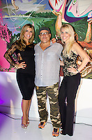 Ana Quincoces, Artist Leonardo Hidalgo, and Kelly Spear attend Real Housewives of Miami Season 3 VIP Premiere Party, at Lou La Vie, Miami, FL, on August 6, 2013