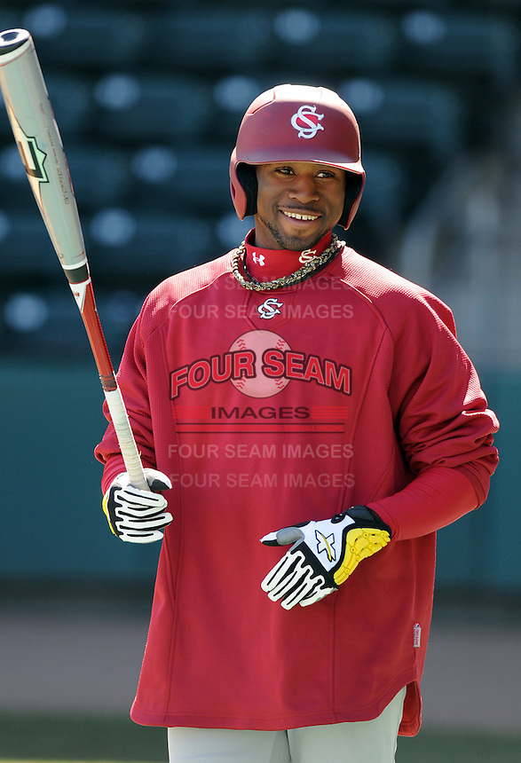 USC outfielder Jackie Bradley Jr. (19) prior to a game between the Clemson Tigers and South Carolina Gamecocks Saturday, March 6, 2010, at Fluor Field at the West End in Greenville, S.C. Bradley is ranked No. 8 sophomore draft prospect in the nation by Baseball America. Photo by: Tom Priddy/Four Seam Images