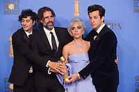 After winning the category of BEST ORIGINAL SONG &ndash; MOTION PICTURE for &quot;Shallow&quot; from &ldquo;A Star Is Born&rdquo;, Anthony Rossomando. Andrew Wyatt, Lady Gaga, and Mark Ronson pose with the award backstage in the press room at the 76th Annual Golden Globe Awards at the Beverly Hilton in Beverly Hills, CA on Sunday, January 6, 2019.<br /> *Editorial Use Only*<br /> CAP/PLF/HFPA<br /> Image supplied by Capital Pictures