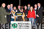 PRESENTATION: Mike Cronin (Readymix), Sponsor of the Unraced Juvenile Greyhound Final on Friday night at Kingdom Greyhound Stadium, Tralee, presenting a Waterford Crystal Vase and a cheque for 25,000 to Mike Dunphy, owner of the winning dog Droopys Deco. L-r: Dick O'Sullivan (Chairman of the Irish Greyhound Board), Noel Browne (Chairman of Kingdom Greyhound Stadium, Tralee), Jack Ward (Manager Kingdom Greyhound Stadium, Tralee), Nicola Browne (Agent), Mike Cronin (Sponsor), Michael Dunphy (Owner), Kieran Casey (Kingdom Greyhound Stadium), Aoife and Sean Dunphy and Daniel O'Leary (Irish Greyhound Board)..
