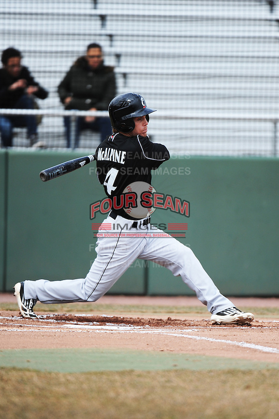 Cincinnati Bearcats outfielder Ethan McAlpine (4) during 1st game of double header against the St. John's Redstorm at Jack Kaiser Stadium on March 28, 2013 in Queens, New York. St. John's defeated Cincinnati 6-5.      . (Tomasso DeRosa/ Four Seam Images)