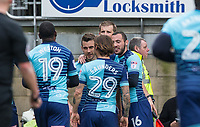 Teammates celebrate with goalscorer Matt Bloomfield of Wycombe Wanderers during the Sky Bet League 2 match between Leyton Orient and Wycombe Wanderers at the Matchroom Stadium, London, England on 1 April 2017. Photo by Andy Rowland.