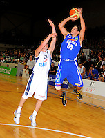 Saints guard Troy McLean attempts a three-pointer. NBL - Wellington Saints v Nelson Giants at TSB Bank Arena, Wellington, New Zealand on Thursday, 19 May 2011. Photo: Dave Lintott / lintottphoto.co.nz
