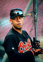 Roberto Alomar of the Baltimore Orioles during a game at Anaheim Stadium in Anaheim, California during the 1997 season.(Larry Goren/Four Seam Images)