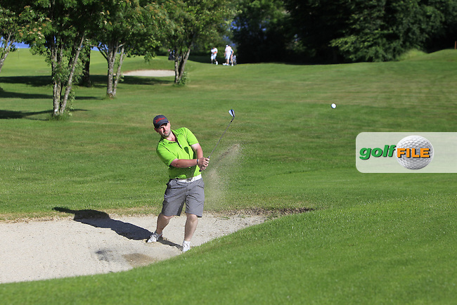 Thomas O'Connor (Athlone) plays out of a bunker at the 17th green during Round 4 of the 2016 Connacht Strokeplay Championship at Athlone Golf Club on Sunday 12th June 2016.<br /> Picture:  Golffile | Thos Caffrey