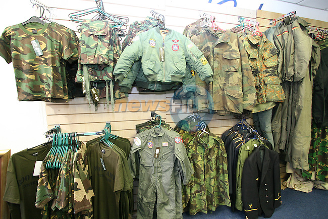 GI Army Surplus Store and Talking Heads....Photo NEWSFILE/Jenny Matthews.(Photo credit should read Jenny Matthews/NEWSFILE)....This Picture has been sent you under the condtions enclosed by:.Newsfile Ltd..The Studio,.Millmount Abbey,.Drogheda,.Co Meath..Ireland..Tel: +353(0)41-9871240.Fax: +353(0)41-9871260.GSM: +353(0)86-2500958.email: pictures@newsfile.ie.www.newsfile.ie.FTP: 193.120.102.198.