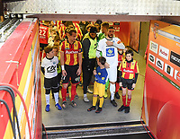 20191221 - LENS , FRANCE : plauers of Lens and Niort with captains Guillaume Gillet (L) and Matthieu Sans (R) ready to enter the pitch pictured during the soccer match between Racing Club de LENS and Niort , on the 19 th matchday in the French Ligue 2 at the Stade Bollaert Delelis stadium , Lens . Saturday 21 December 2019. PHOTO DIRK VUYLSTEKE   SPORTPIX.BE