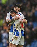 Brighton & Hove Albion's captain Lewis Dunk (left) shows the emotion of the Brighton win with winning goal scorer Brighton & Hove Albion's Florin Andone (left) <br /> <br /> Photographer David Horton/CameraSport<br /> <br /> The Premier League - Brighton and Hove Albion v Huddersfield Town - Saturday 2nd March 2019 - The Amex Stadium - Brighton<br /> <br /> World Copyright © 2019 CameraSport. All rights reserved. 43 Linden Ave. Countesthorpe. Leicester. England. LE8 5PG - Tel: +44 (0) 116 277 4147 - admin@camerasport.com - www.camerasport.com