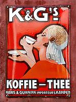 Kanis en gunnink thee en koffie reclame bord in het Zuiderzeemuseum in Enkhuizen