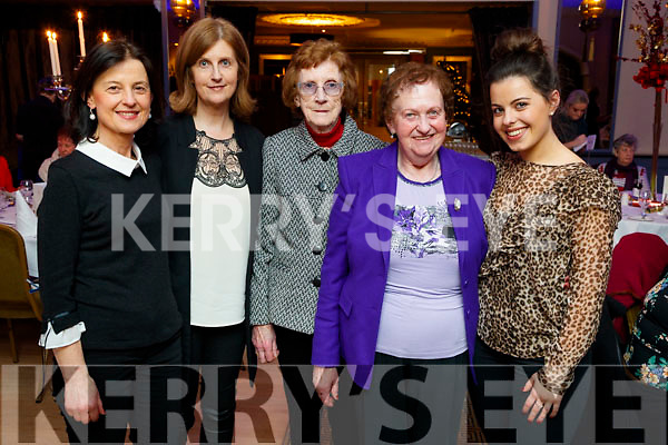 Regina Bambury (Listowel), Ann Sheehan (Abbeydorney) with Kathleen Delaney and Mary Cantillon (Causeway) and Megan Bambury (Listowel), enjoying Women's Christmas at Ballygarry House Hotel and Spa, Tralee, on Saturday night last.