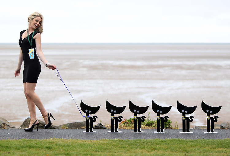.CARLSBERG CAT NABBERS NEEDED TO FIND THE COMEDIANS' LOST CARLSBERG 'CATS'. .Pictured here today, Sunday 9th May 2010: model Pippa O'Connor with the Carlsberg Cats! Pippa was the last person to have seen the Cats earlier today as they have now gone missing. Pic Robbie Reynolds CPR..The distraught owners of these Carlsberg Cats are three of Ireland's leading comedians, Jason Byrne, PJ Gallagher and Karl Spain and they have started a nationwide search to find their cats in time for the Carlsberg Cat Laughs. . .Comedy fans aged over 18 who join the Carlsberg Comedy Cat Nabbers, will have the chance to meet the comedians face to face to reunite them with their Carlsberg Comedy 'Cats' at the Carlsberg Cat Laughs comedy festival in Kilkenny.. .Jason Byrne's Carlsberg Comedy Cat 'Casper' is lost somewhere in Dublin, whilst PJ Gallagher believes 'Tom' is hiding in Cork and Karl Spain thinks 'Eric' is missing in the South East. FM104, Red FM, and Beat 102FM are supporting the comedians in their search by giving out clues to the possible locations of the comedians' 'cats' from Monday 10th May. The comedians themselves are keeping a video diary and providing additional clues on the Carlsberg Comedy Cat Nabbers Facebook page www.facebook.com/carlsbergcomedycatnabbers  . The Carlsberg Comedy 'Cats' are GPS tagged so comedy fans can track them on the Facebook page and also via the Carlsberg Cat Nav iphone App, which is available from 10th May. . .The 16th annual Carlsberg Cat Laughs Festival will run for five days over the Bank holiday weekend Thursday 3 - Monday 7 June, showcasing 49 artists in 60 shows across 16 venues.   With more than 20,000 tickets available, there will be a vast selection for new and seasoned comedy fans alike!  For full details on the lineup, tickets and venue information visit www.carlsbergcatlaughs  .  Tickets are on sale now!.