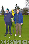 Mike and Dean Kelleher Ballydesmond on the tenth green at Killeen Golf Course on Saturday
