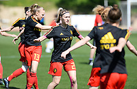 20180228 - LARNACA , CYPRUS :  Belgian Celien Guns pictured during warming up of a women's soccer game between The Belgian Red Flames and the Czech Republic , on wednesday 28 February 2018 at GSZ Stadium in Larnaca , Cyprus . This is the first game in group B for Belgium during the Cyprus Womens Cup , a prestigious women soccer tournament as a preparation on the World Cup 2019 qualification duels. PHOTO SPORTPIX.BE | DAVID CATRY