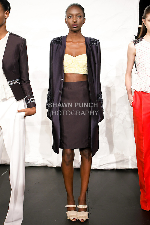 Model poses in an outfit by Jeffrey Monteiro, for the Bill Blass Spring 2011 fashion presentation, during Mercedes-Benz Fashion Week, September 15, 2010.