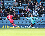 30th September 2017, Dens Park, Dundee, Scotland; Scottish Premier League football, Dundee versus Hearts; Hearts' Kyle Lafferty scores his side's equaliser for 1- in their 2-1 defeat at Dundee