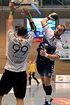 09.11.2019, Hansehalle Luebeck, GER,  2.Bundesliga Handball VfL Luebeck-Schwartau - TV Emsdetten<br /> <br /> im Bild / picture shows<br /> Jan Schult VfL Luebeck-Schwartau im Wurf ueber Jan Mojzis (TV Emsdetten)<br /> <br /> Foto © nordphoto / Tauchnitz