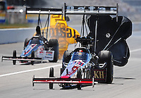 Sept. 6, 2010; Clermont, IN, USA; NHRA top fuel dragster driver Larry Dixon (right) after defeating Steve Torrence in the scond round during the U.S. Nationals at O'Reilly Raceway Park at Indianapolis. Mandatory Credit: Mark J. Rebilas-
