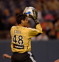 FC Dallas goalkeeper Dario Sala pulls down a crossed ball. The Colorado Rapids and FC Dallas played to a 2-2 draw at Invesco Field at Mile High Stadium in Denver, CO, April 15, 2006.