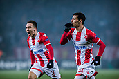 7th December 2017, Rajko Mitic Stadium, Belgrade, Serbia, UEFA Europa League football, Red Star Belgrade versus FC Cologne; Midfielder Slavoljub Srnic of Red Star Belgrade and Midfielder Branko Jovicic of Red Star Belgrade celebrate their goal for 1-0