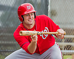 6 March 2015: Washington Nationals pitcher and Baseball America top prospect Lucas Giolito works on bunting skills during Spring Training at the Carl Barger Baseball Complex in Viera, Florida. Mandatory Credit: Ed Wolfstein Photo *** RAW (NEF) Image File Available ***
